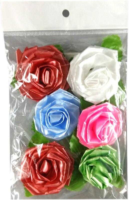 Art Dekoracyjne Kwiaty 06szt 50x50mm Różyczki Do Prezentów